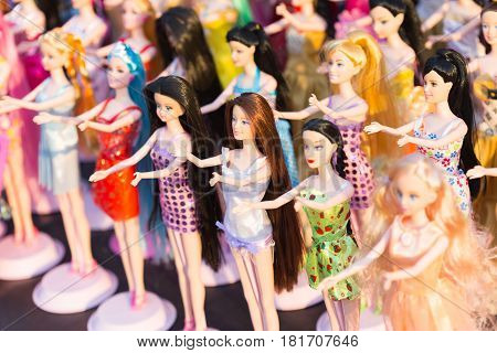 Chaingrai - March  4 : Dolls Are Shown For Sale At Open Market Zone On  March 4, 2015 In Chaingrai,