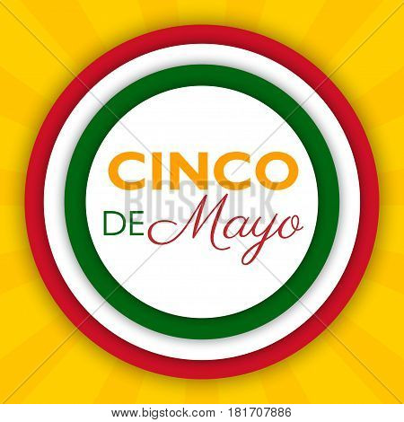 Cinco De Mayo background for a celebration held on May 5. Mexican holiday template in colors of national flag. Vector illustration for advertising poster invitation party greeting card fiesta.