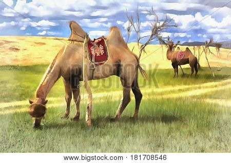 Colorful painting of Mongol Els sand dunes, Tov province, Mongolia