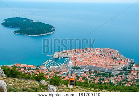 Viewing Lokrum island and Dubrovnik city from a cable car.