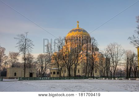 Naval cathedral in the evening Kronshtadt Saint Petersburg Russia