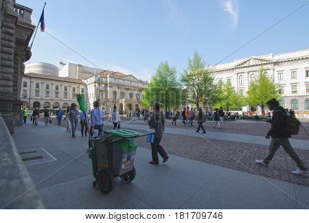 MILAN ITALY - APRIL 4 2017: Piazza della Scala is a pedestrian central square of Milan named after the renowned Teatro alla Scala opera house