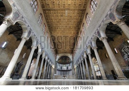ROME ITALY - APRIL 9 2017: Santa Sabina basilica interior built in Rome about 432 A.D on a classical rectangular form