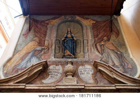 ZAGREB, CROATIA - OCTOBER 03: The 14th century Church of St Mary located near Dolac market in Zagreb, Croatia on October 03, 2013.