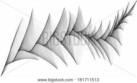 3d illustration of veil looks like plume on white background