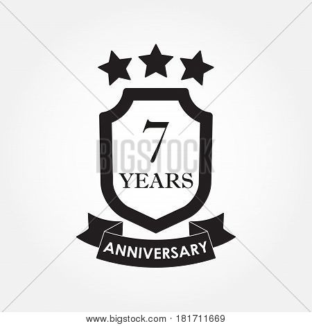 7 years anniversary icon or emblem. 7th anniversary label. Celebration invitation and congratulation design element. Vector illustration