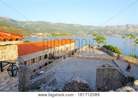 BUDVA MONTENEGRO - SEPTEMBER 17 2015: Unknown people visit Citadel in Old Town Budva Montenegro