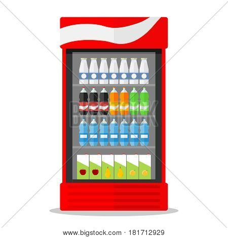 Showcase fridge with milk and juice. Flat design vector illustration vector.