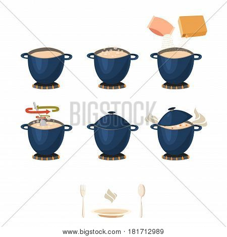 Visual phased cooking instruction for Infographic or manual with pot on fire isolated flat icons vector illustration
