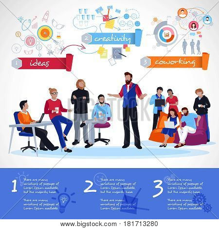 Coworking infographics template with communication of people hand drawn icons with parts of creative process vector illustration