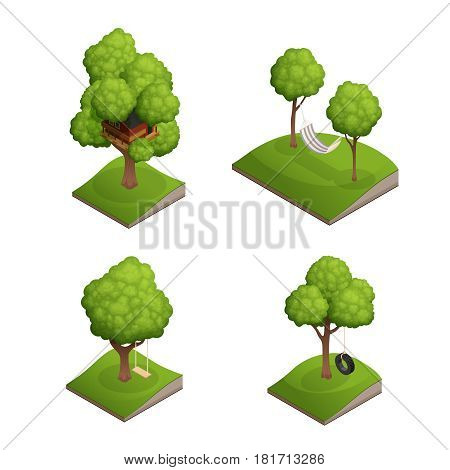 Yard tree swing set with four isolated images of belts based seesaw car tyre and hammock vector illustration