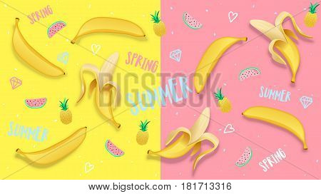 Spring Summer banner, poster in trendy 80s-90s Memphis style. Banana vector illustration, lettering and colorful design for poster, card, invitation. Easy editable for Your design.