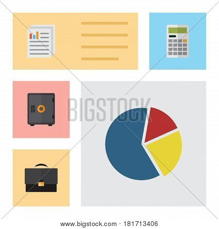 Flat Exchequer Set Of Document, Calculate, Portfolio And Other Vector Objects. Also Includes Pie, Document, Calculator Elements.