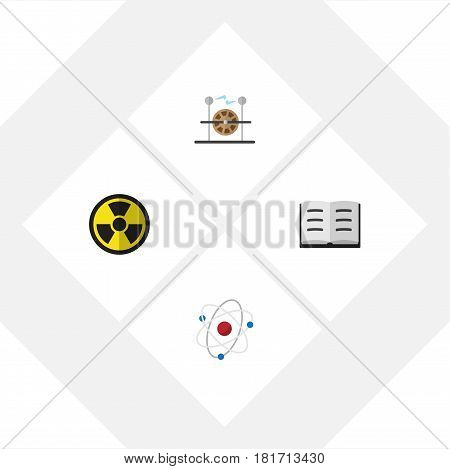 Flat Science Set Of Orbit, Irradiation, Electrical Engine And Other Vector Objects. Also Includes Information, Electricity, Book Elements.