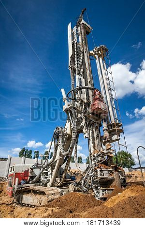 Drilling rig working at the construction site