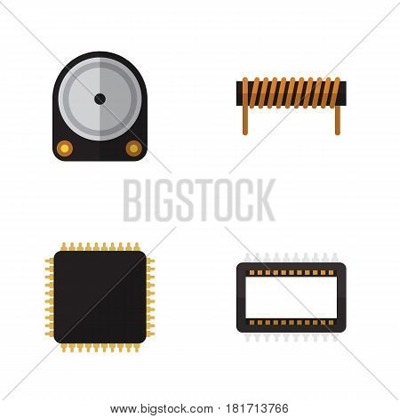 Flat Technology Set Of Hdd, Mainframe, Bobbin And Other Vector Objects. Also Includes Bobbin, Motherboard, Cpu Elements.