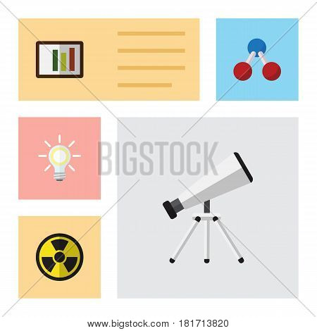 Flat Science Set Of Diagram, Irradiation, Nuclear And Other Vector Objects. Also Includes Telescope, Dangerous, Nuclear Elements.