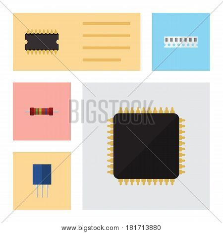 Flat Appliance Set Of Memory, Receptacle, Cpu And Other Vector Objects. Also Includes Microprocessor, Resistor, Cpu Elements.