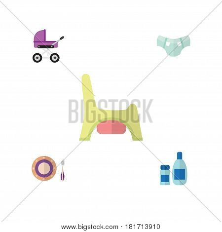 Flat Infant Set Of Cream With Lotion, Toilet, Nappy And Other Vector Objects. Also Includes Toilet, Pram, Diaper Elements.