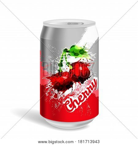 Aluminum soda can on a white background
