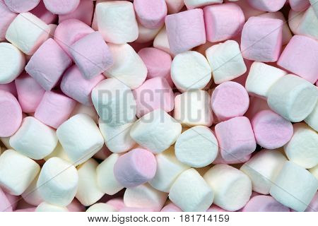 Pink and white marshmallow confectionery abstract background