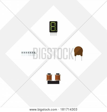 Flat Electronics Set Of Display, Coil Copper, Triode And Other Vector Objects. Also Includes Calculate, Access, Triode Elements.