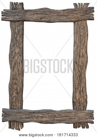 Old wooden carved frame on a white background