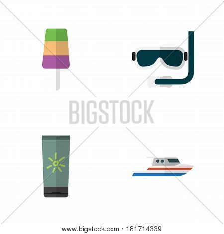 Flat Hot Set Of Sundae, Boat, Moisturizer And Other Vector Objects. Also Includes Sundae, Yacht, Boat Elements.