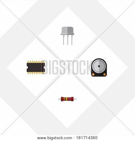 Flat Appliance Set Of Microprocessor, Resistance, Hdd And Other Vector Objects. Also Includes Resistor, Processor, Hdd Elements.