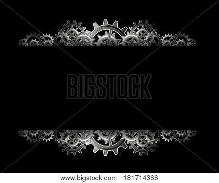 Steampunk gears frame on a black background