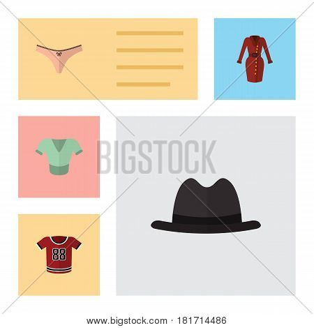 Flat Clothes Set Of Lingerie, Casual, Clothes And Other Vector Objects. Also Includes Dress, Panties, Fedora Elements.