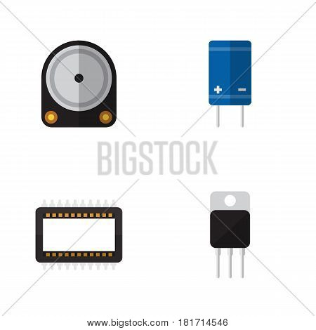 Flat Electronics Set Of Transistor, Hdd, Mainframe And Other Vector Objects. Also Includes Transistor, Receiver, Drive Elements.