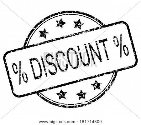 black Discount rubber stamp on white background- illustration