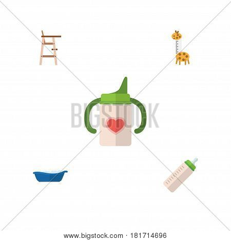 Flat Infant Set Of Child Chair, Nursing Bottle, Feeder And Other Vector Objects. Also Includes Feeder, Children, Bathing Elements.