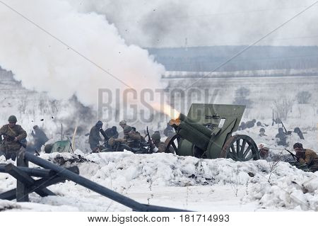 Scene Of Battle During Military-historical Festival