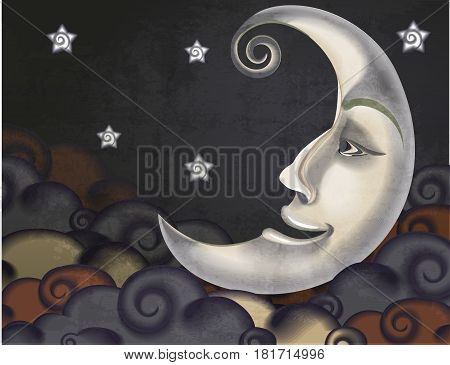 Retro style half moon clouds and stars illustration