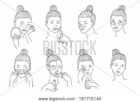 Vector set with women head in different conditions mood and angle. Cosmetology procedures like treatment and facial masks for lips eyes and skin. Girl takes care of her skin and face herself