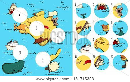 Geography Visual Game: Australia. Task: Find missing pieces. Illustration is in eps10 vector mode solution in hidden layer. poster