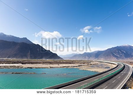 highway across the yarlung zangbo river valley in nyingchi China