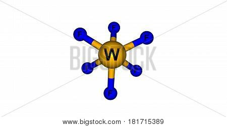 Tungsten fluoride or tungsten hexafluoride is the inorganic compound of tungsten and fluorine with the formula WF6. This corrosive colorless compound is a gas. 3d illustration
