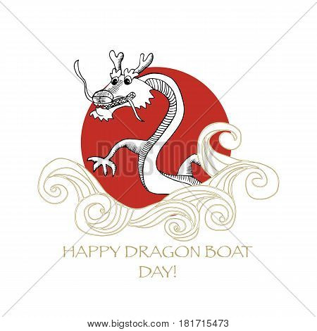 Promotion template for Dragon Boat Festival known as Dragon Boat Racing. Doodle styled Chinese Dragon and Sea waves.