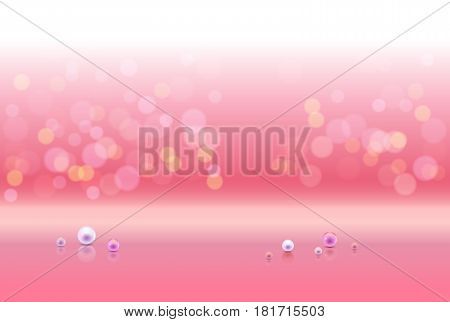 Pink shiny sparkle bokeh background and light place. Rose pearls and empty place for objects. Vector illustration stock vector.