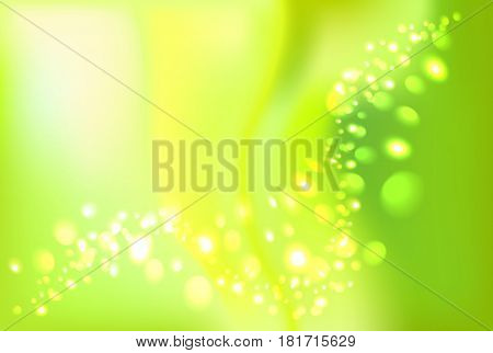 Green shiny sparkle and swirl bokeh light background. Empty place for objects. Vector illustration stock vector.