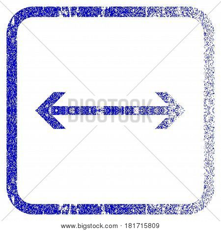 Horizontal Flip textured icon for overlay watermark stamps. Blue vectorized texture. Flat vector symbol with dirty design inside rounded square frame. Framed blue rubber seal stamp imitation.