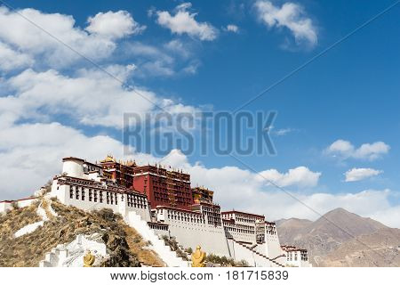 the potala palace against a blue sky in lhasa city tibet autonomous region China