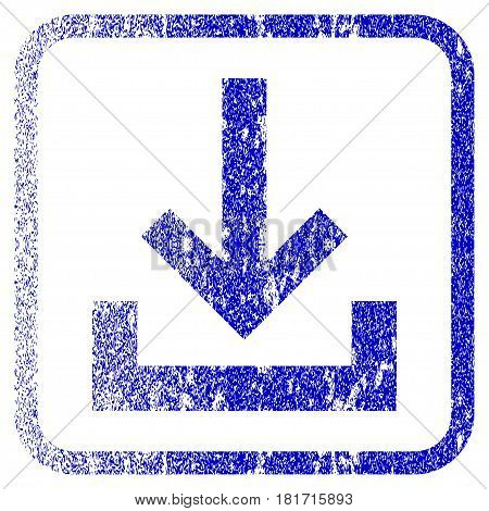 Inbox textured icon for overlay watermark stamps. Blue vectorized texture. Flat vector symbol with dirty design inside rounded square frame. Framed blue rubber seal stamp imitation.