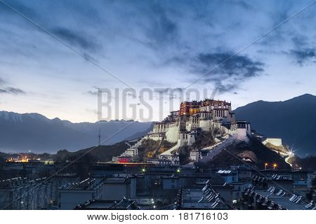 the potala palace in nightfall lhasa city tibet autonomous region China