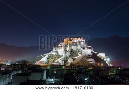 the potala palace at night in lhasa city tibet autonomous region China