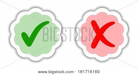 Sticker good and bad choice of purchase, approved and rejected, vector sticker in the form of a flower with transparent realistic shadow, checkmark and cross