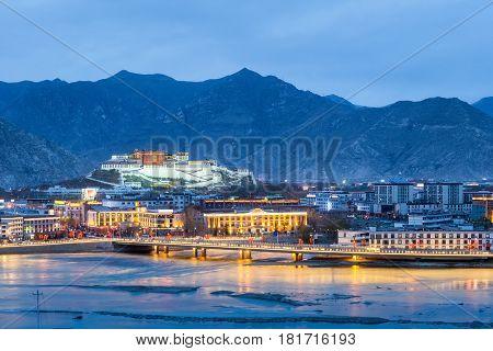 beautiful lhasa in nightfall aerial view of the potala palace China